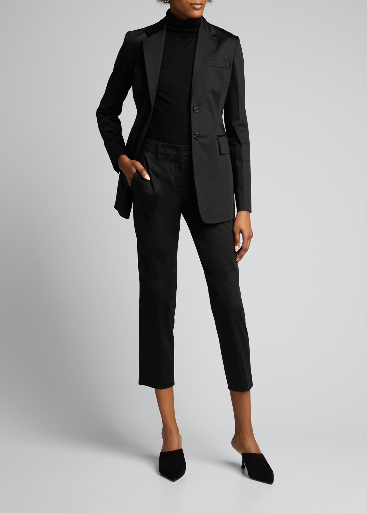 Image 1 of 5: Cotton Sateen Fitted Blazer
