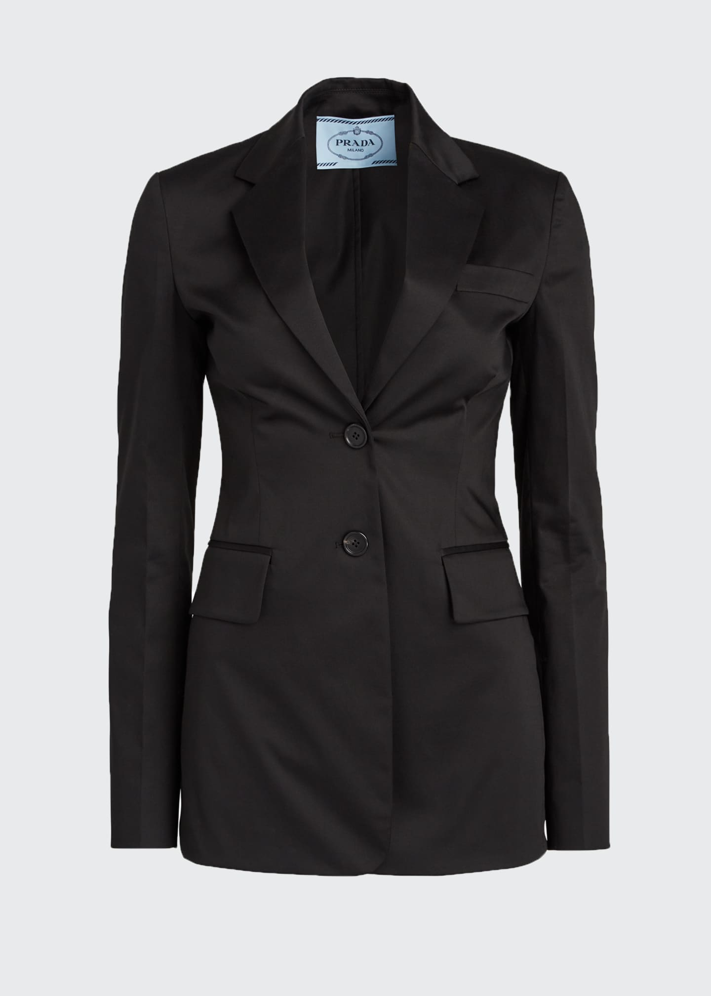 Image 5 of 5: Cotton Sateen Fitted Blazer