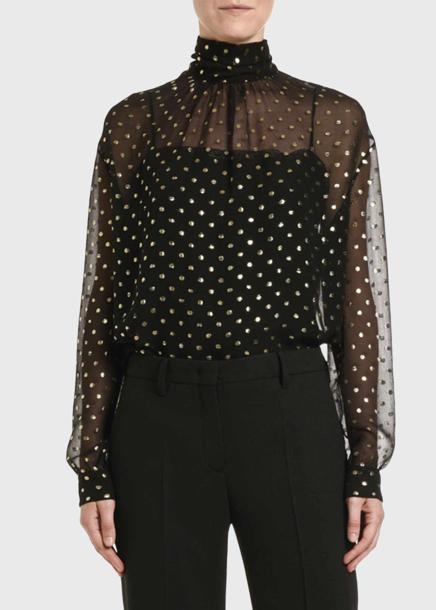 Prada Fil Coupe Chiffon Mock-Neck Blouse