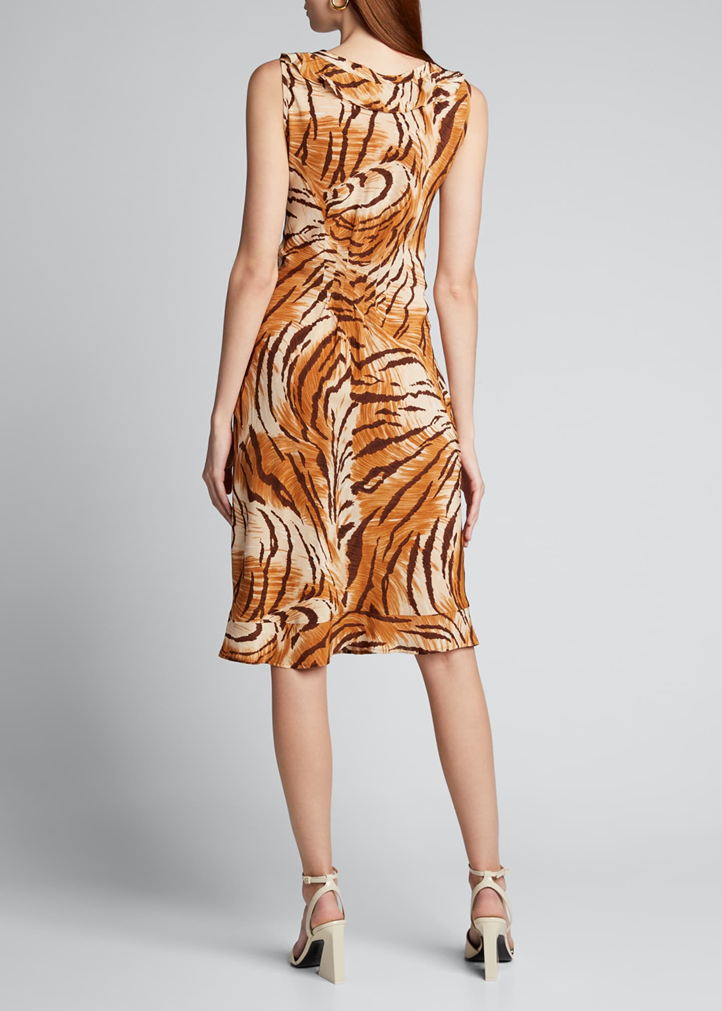 Image 2 of 5: Fredrica Tiger-Print Georgette V-Neck Dress