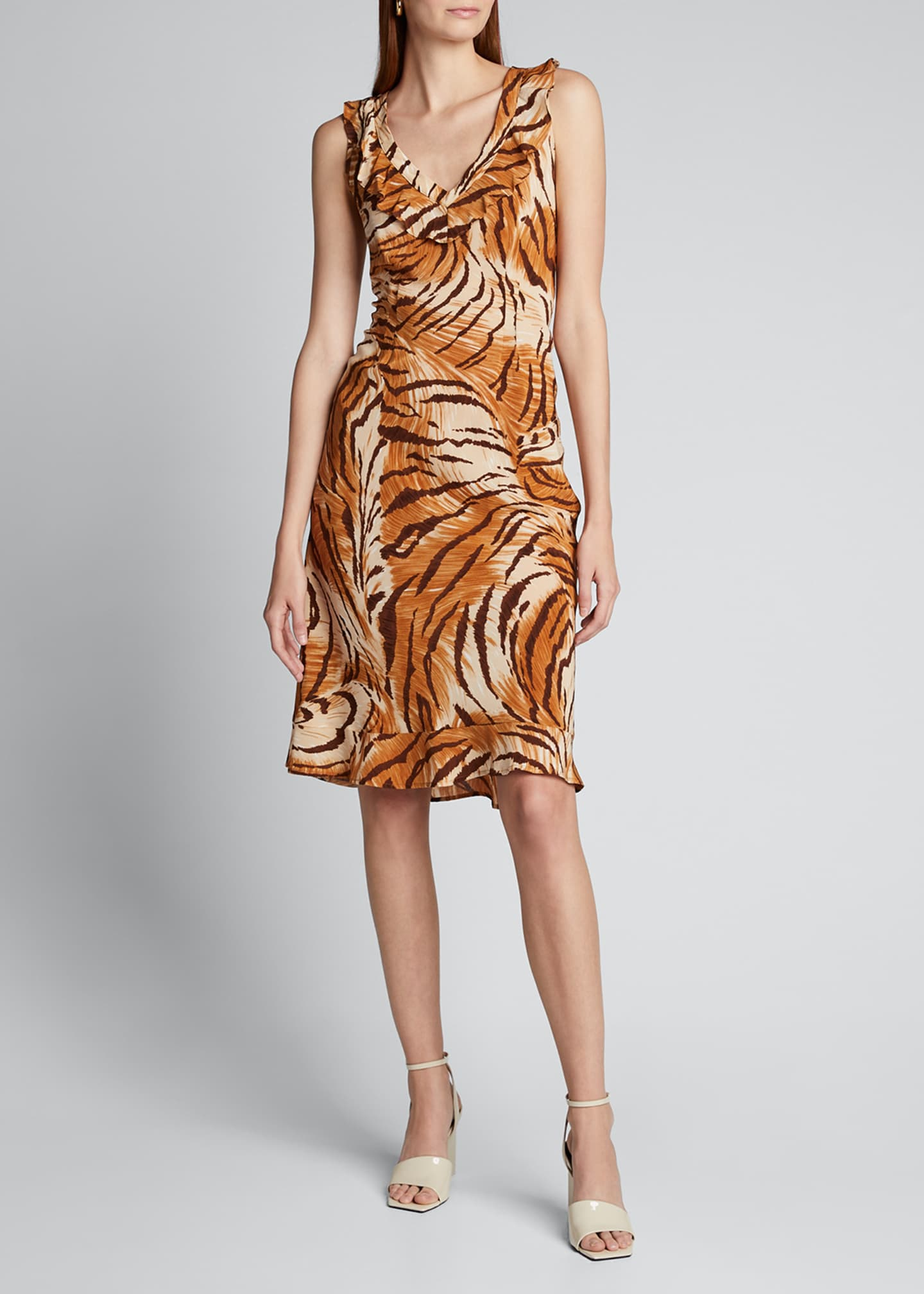 Image 3 of 5: Fredrica Tiger-Print Georgette V-Neck Dress