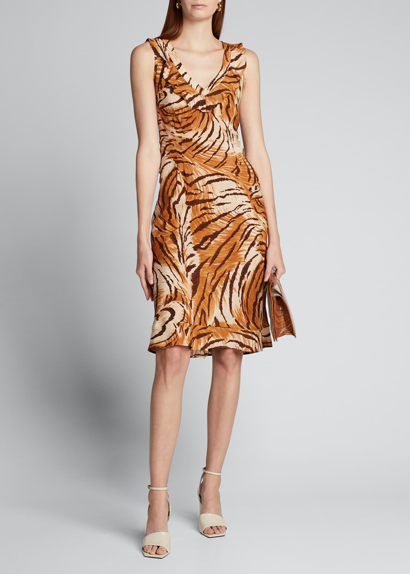 Image 1 of 5: Fredrica Tiger-Print Georgette V-Neck Dress
