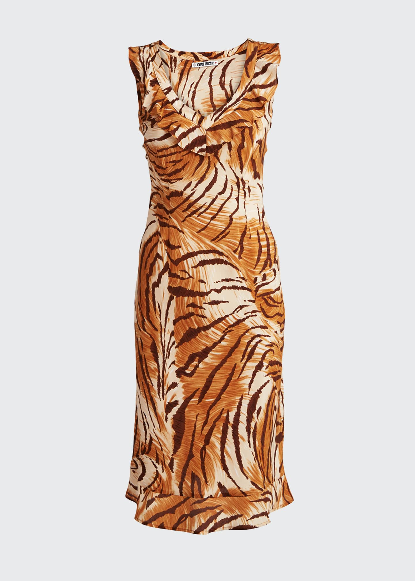 Image 5 of 5: Fredrica Tiger-Print Georgette V-Neck Dress