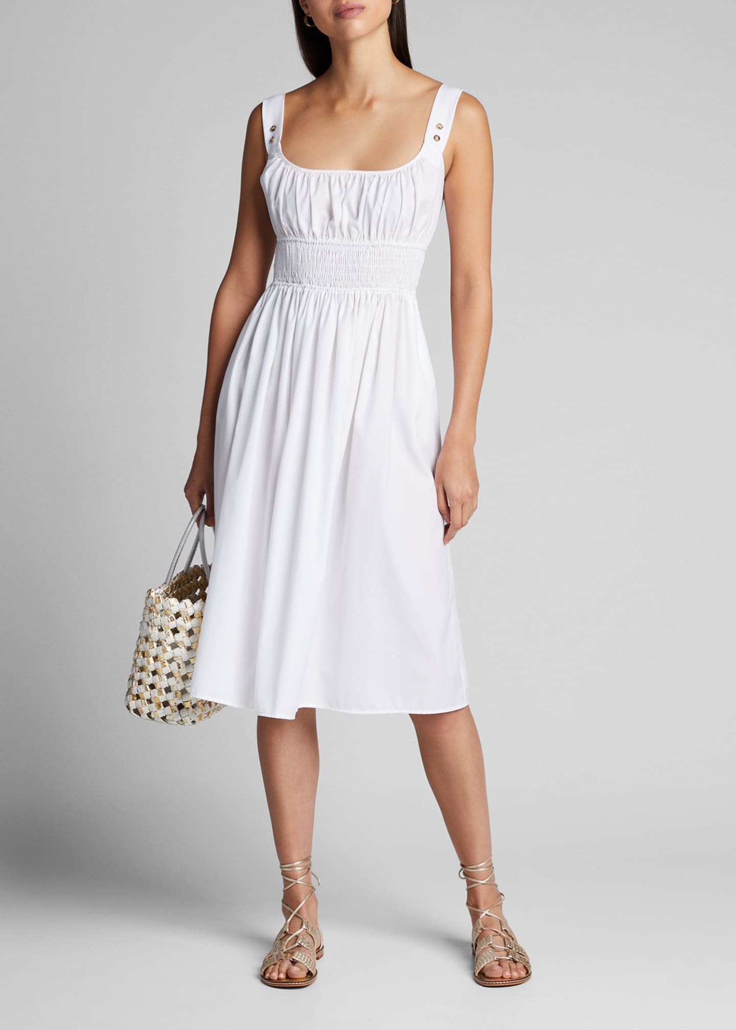 Ciao Lucia Lara Smocked Square-Neck Midi Dress