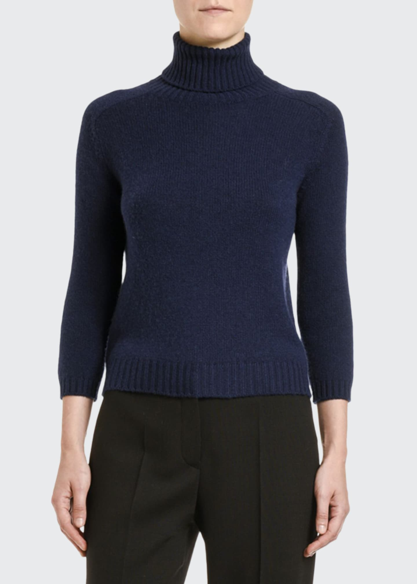 Prada Cashmere Elbow-Patched 3/4-Sleeve Sweater