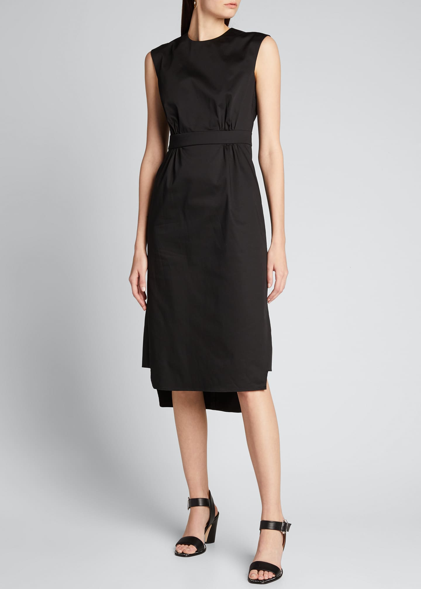 Image 1 of 5: Sateen Sleeveless Suit Dress