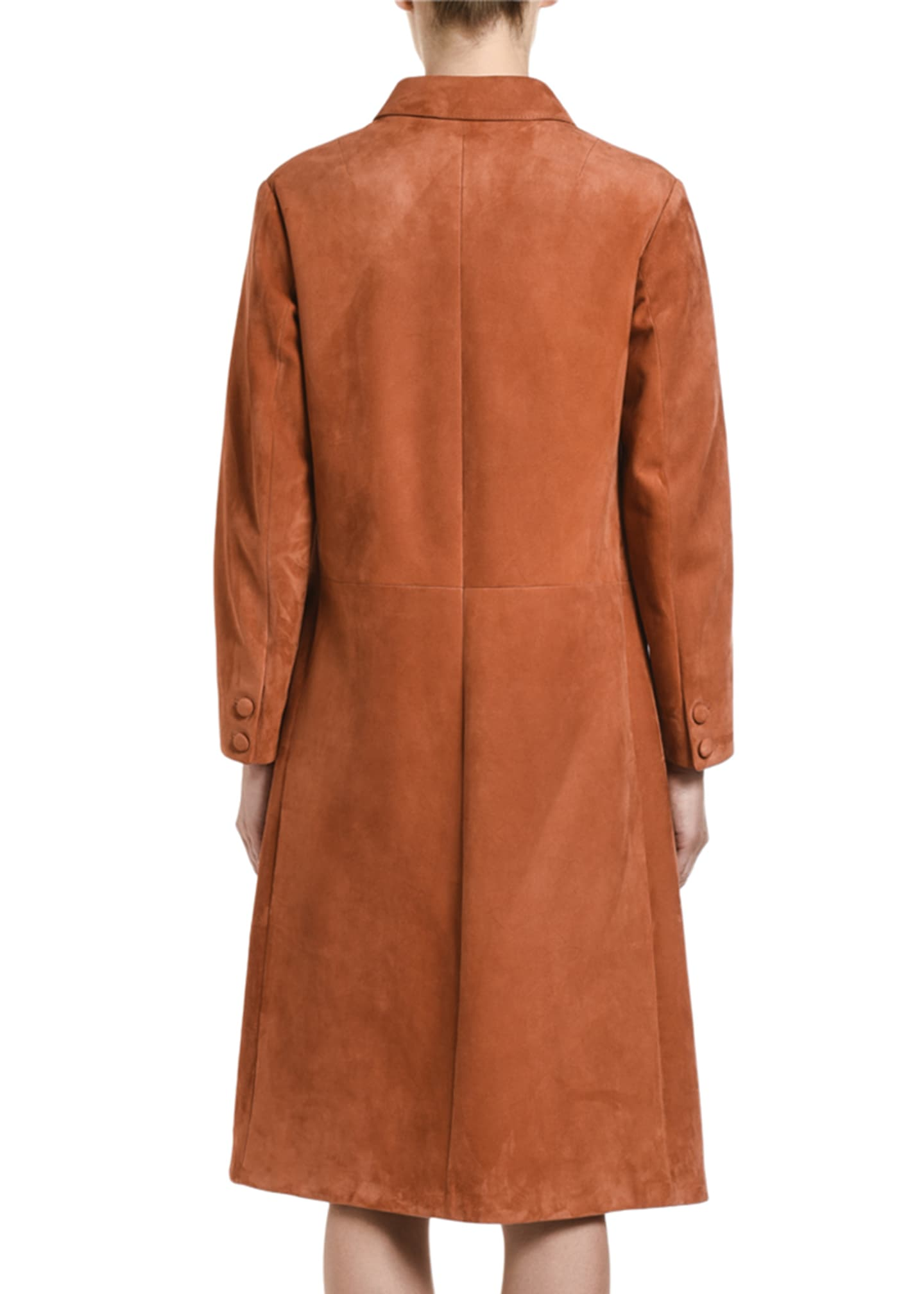 Image 2 of 2: Suede Button-Front Long Coat