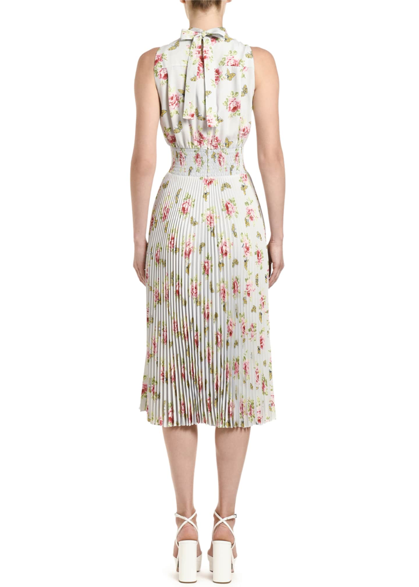 Image 2 of 2: Floral-Print Sleeveless Crepe High-Neck Dress