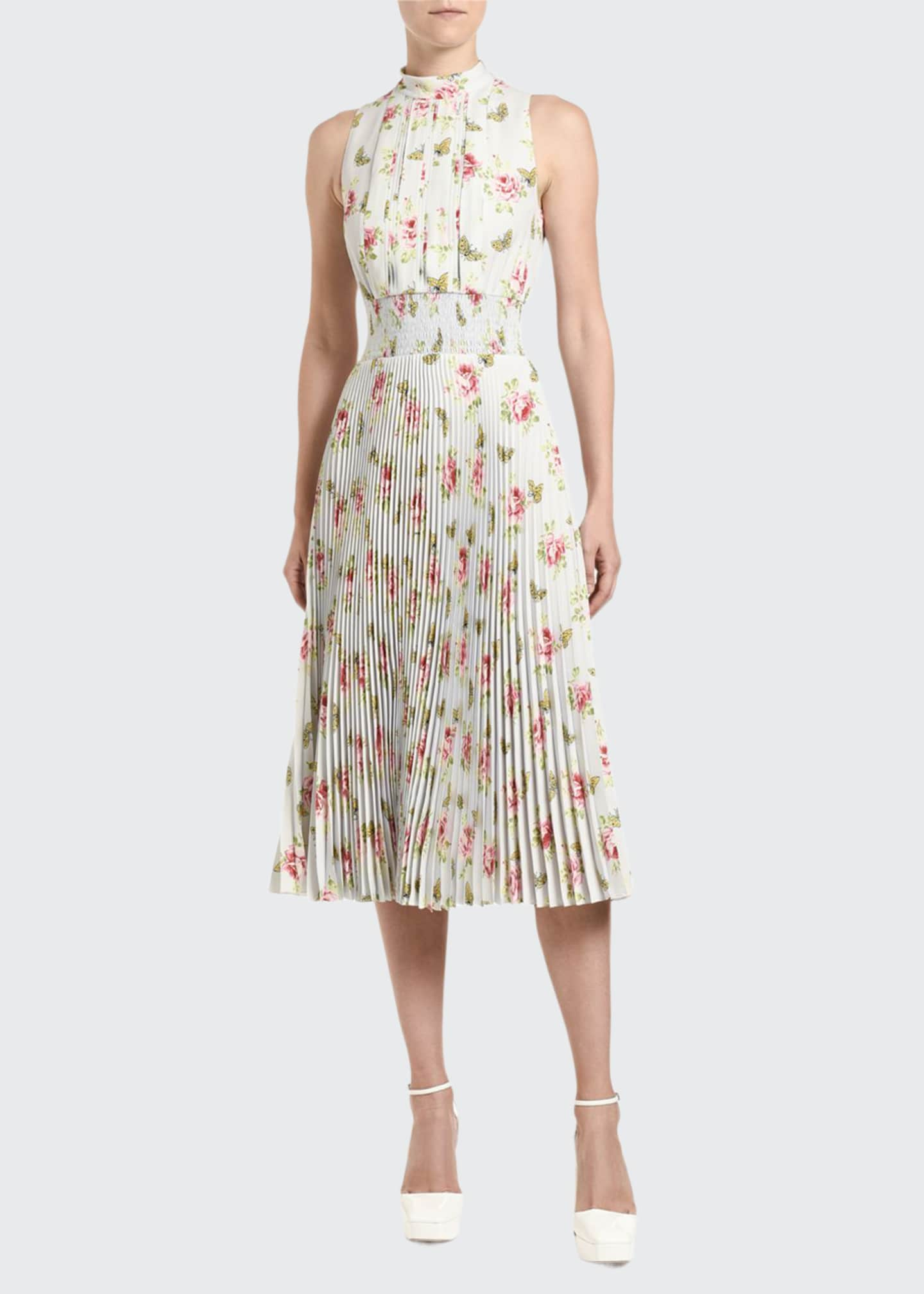 Prada Floral-Print Sleeveless Crepe High-Neck Dress