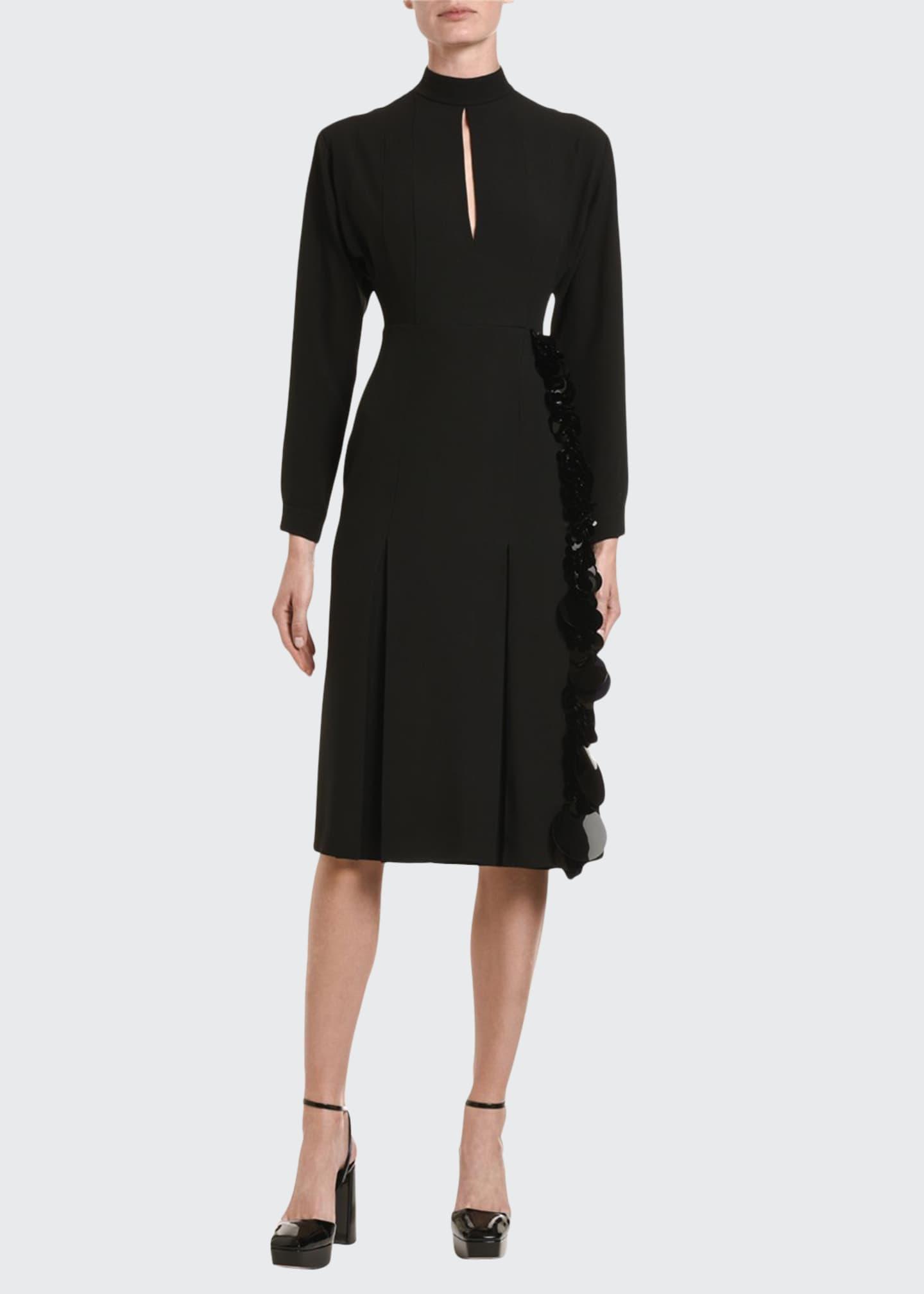 Prada Crepe Sequin-Skirt Long-Sleeve Dress