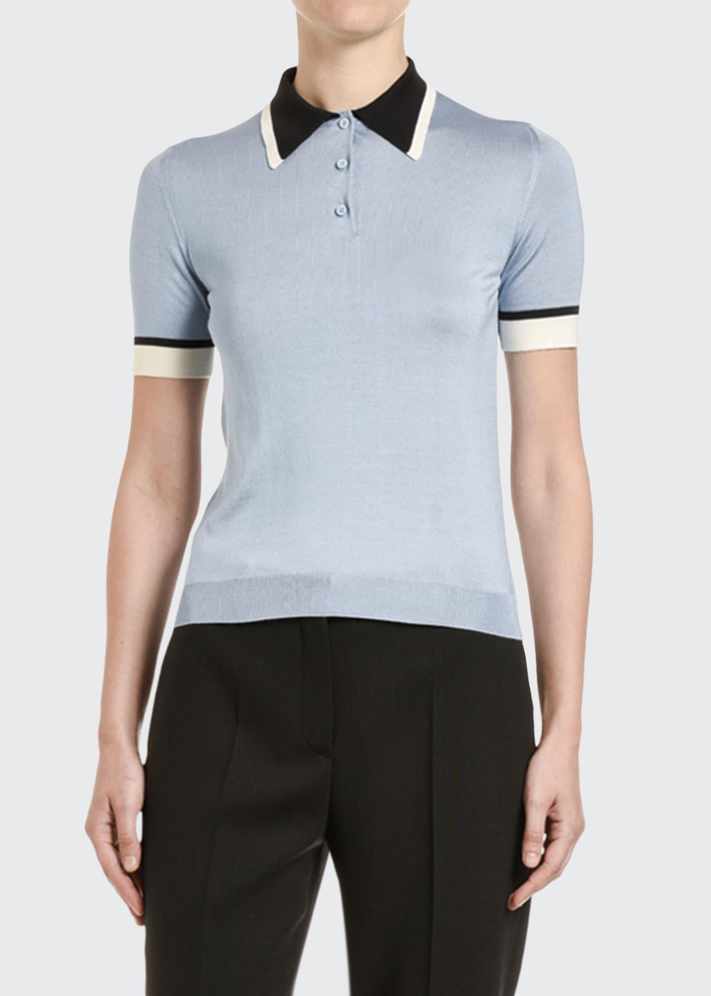 Prada Colorblock Silk Polo Shirt