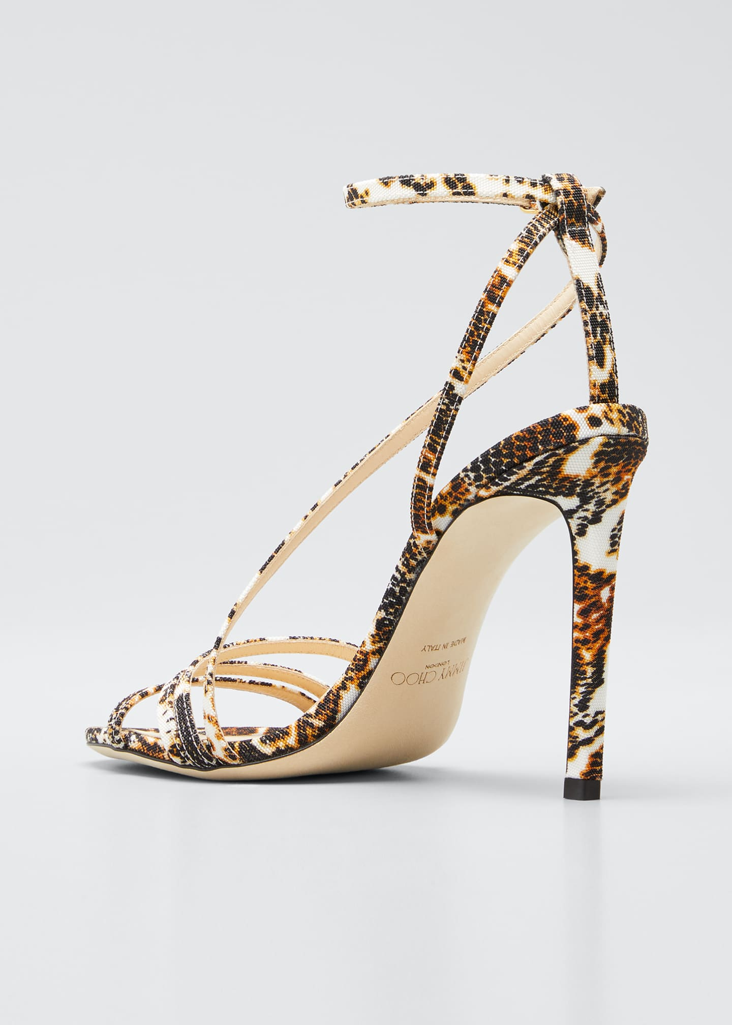 Image 2 of 3: Tesca 100mm Snake-Print Sandals