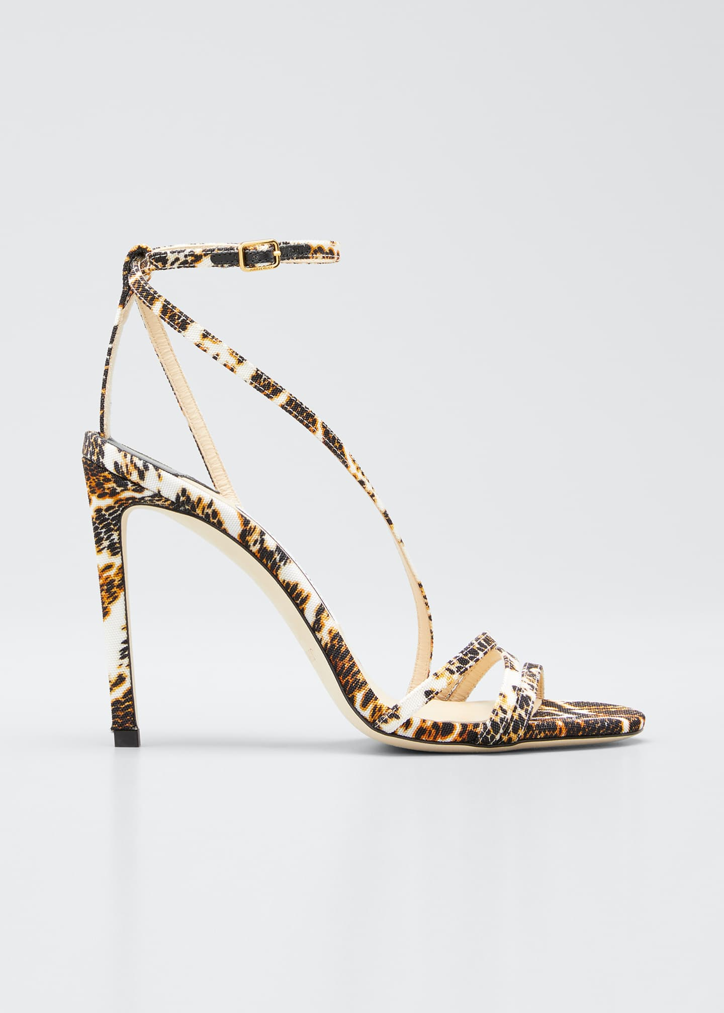 Image 1 of 3: Tesca 100mm Snake-Print Sandals