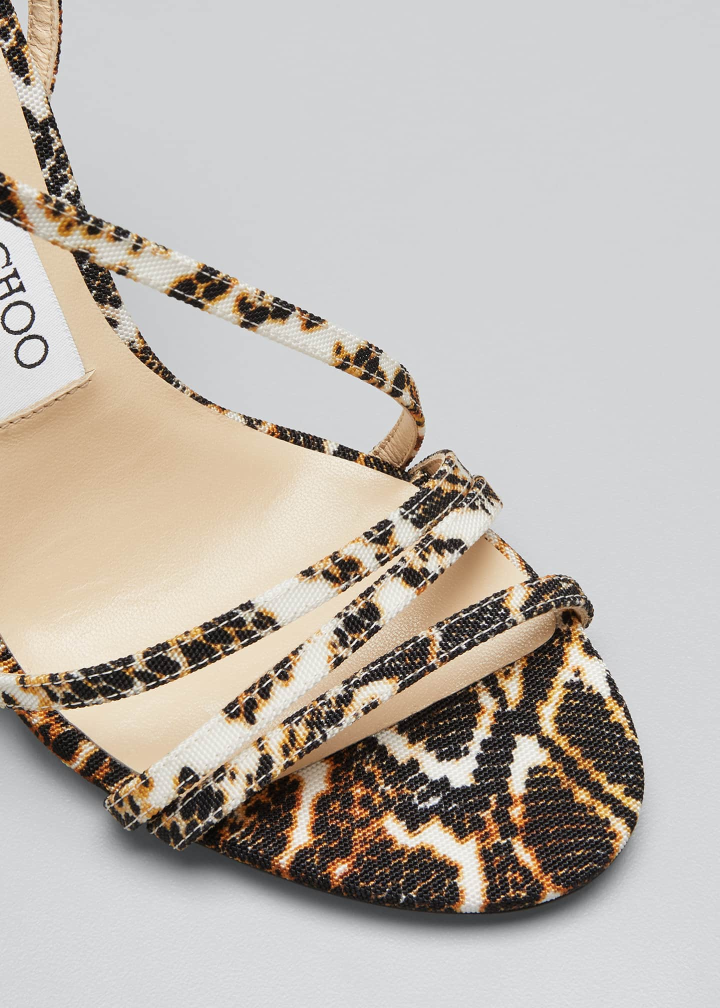 Image 3 of 3: Tesca 100mm Snake-Print Sandals