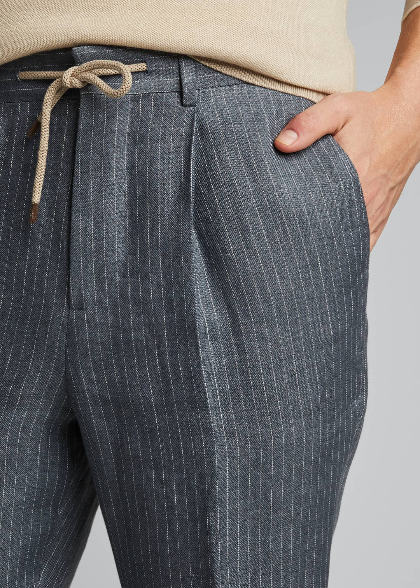 Image 4 of 4: Men's Exclusive Leisure-Fit Drawstring Suit Separate Pants