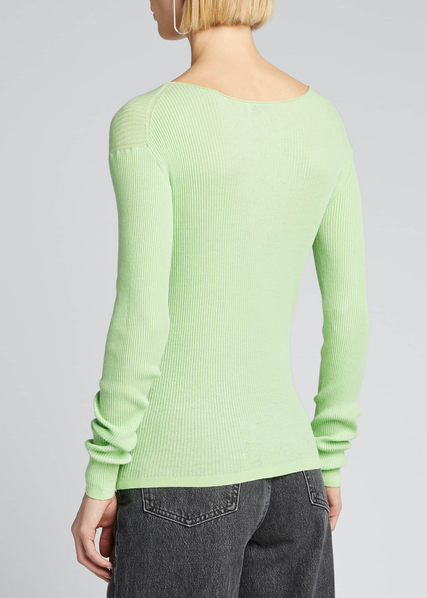 Image 2 of 5: Ribbed Boat-Neck Long-Sleeve Tee