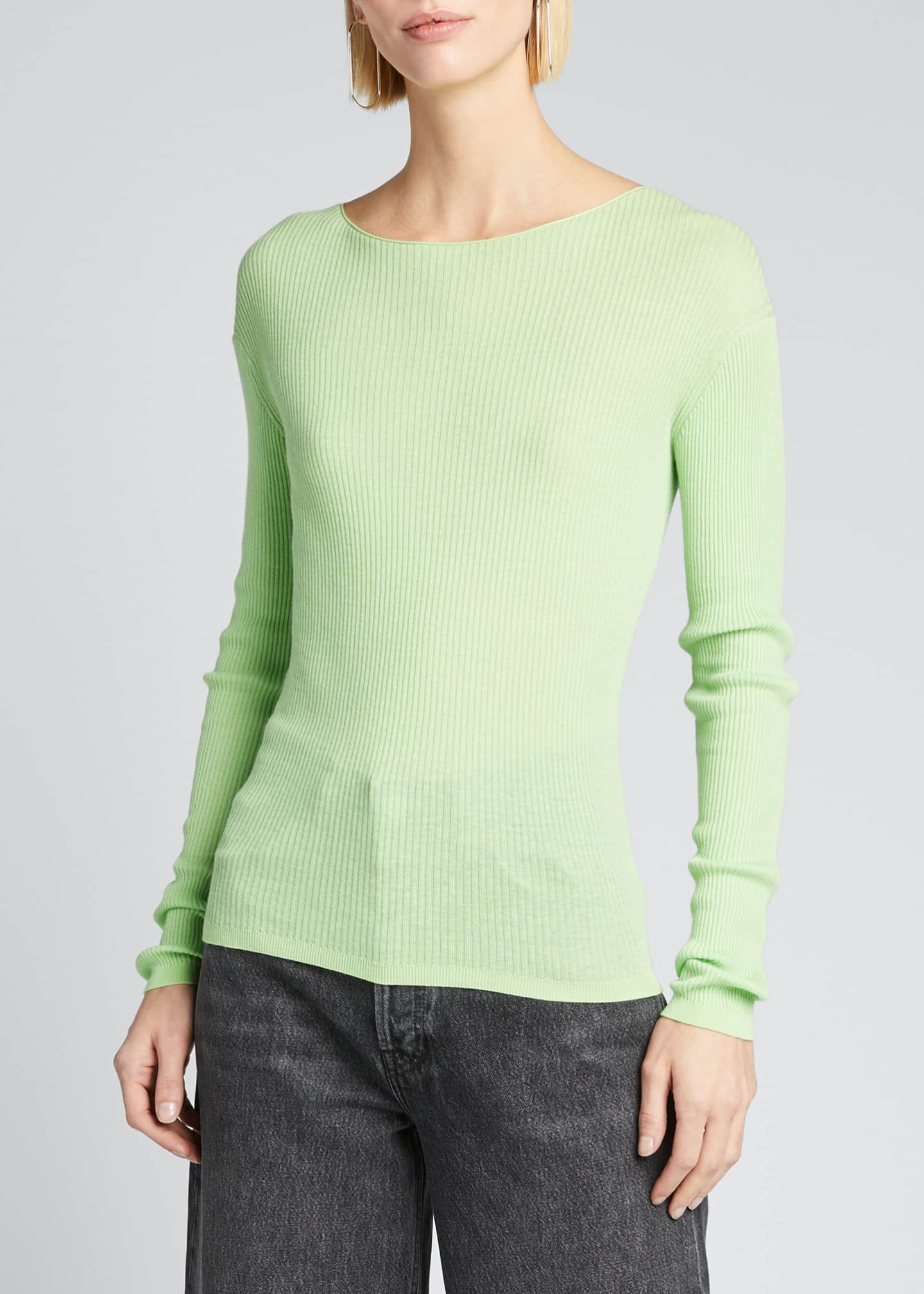 Image 3 of 5: Ribbed Boat-Neck Long-Sleeve Tee
