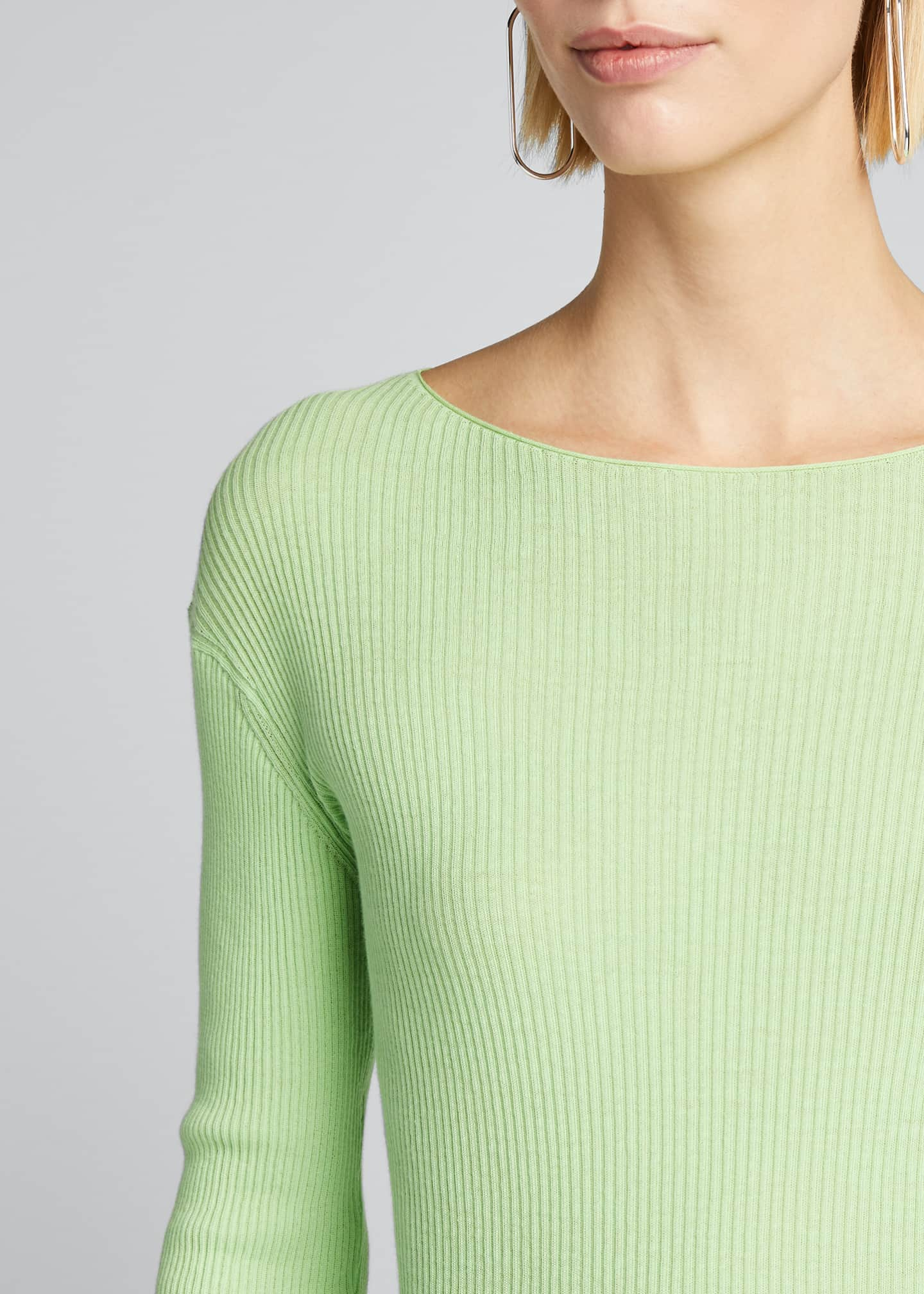 Image 4 of 5: Ribbed Boat-Neck Long-Sleeve Tee