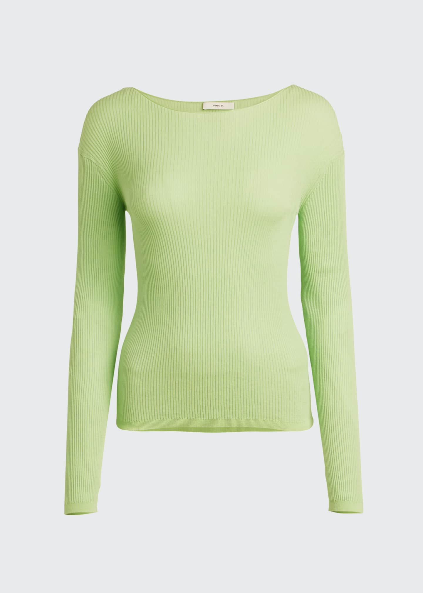Image 5 of 5: Ribbed Boat-Neck Long-Sleeve Tee