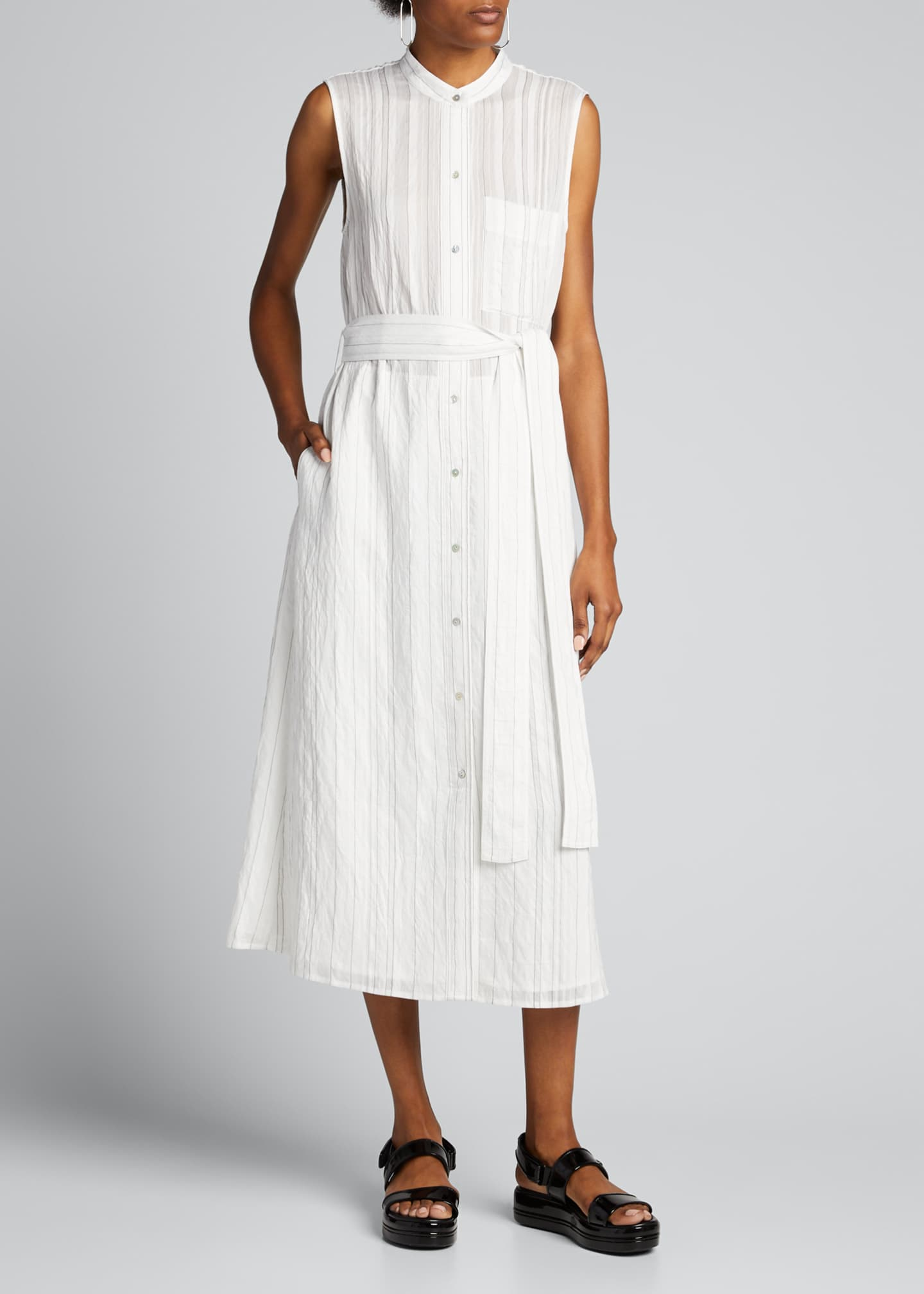 Image 3 of 5: Striped Sleeveless Drapey Shirtdress
