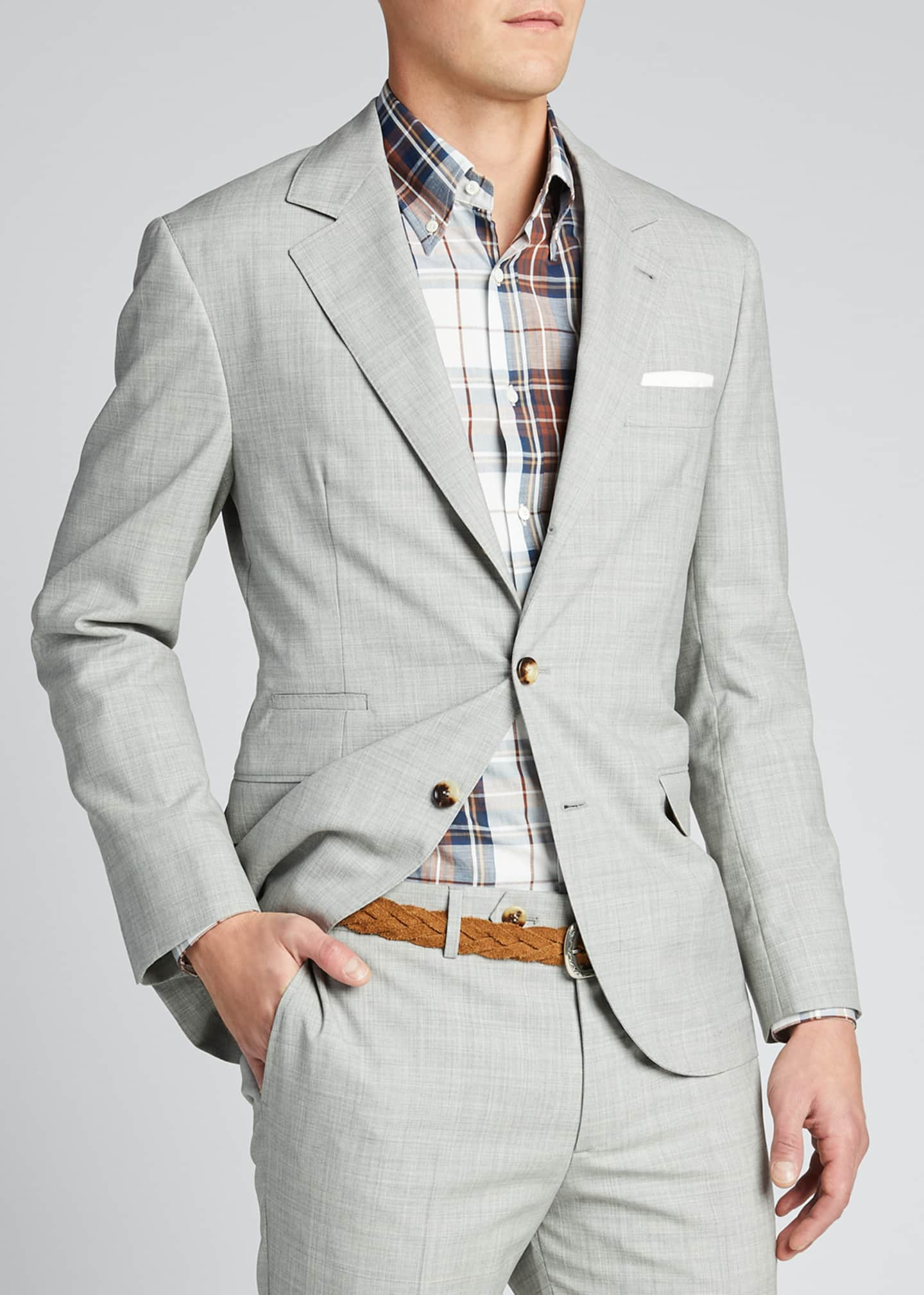 Image 3 of 5: Men's Solid Wool Two-Piece Suit