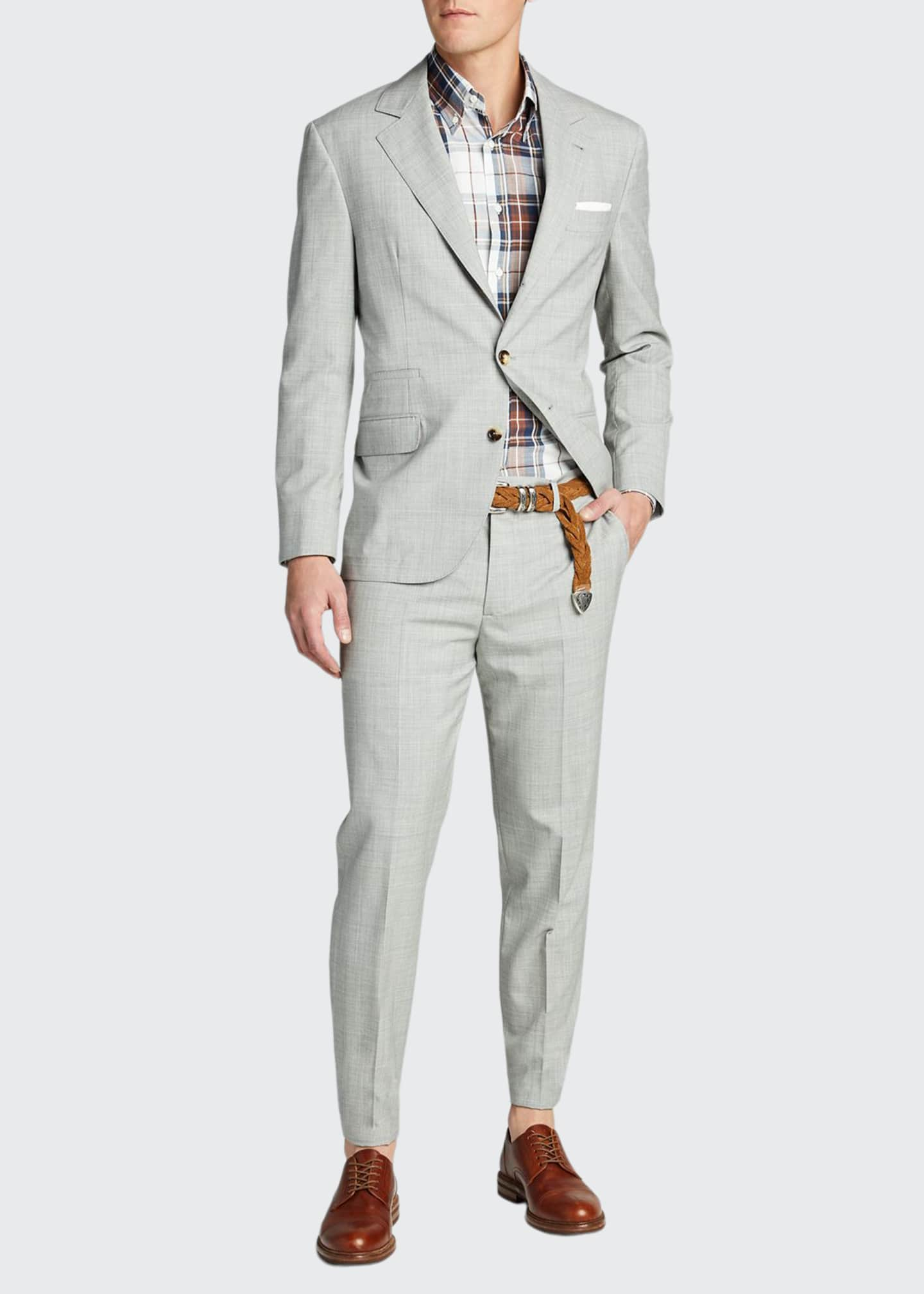 Image 1 of 5: Men's Solid Wool Two-Piece Suit