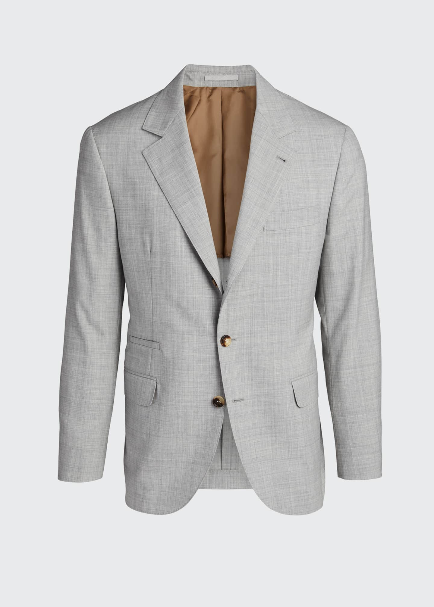 Image 5 of 5: Men's Solid Wool Two-Piece Suit