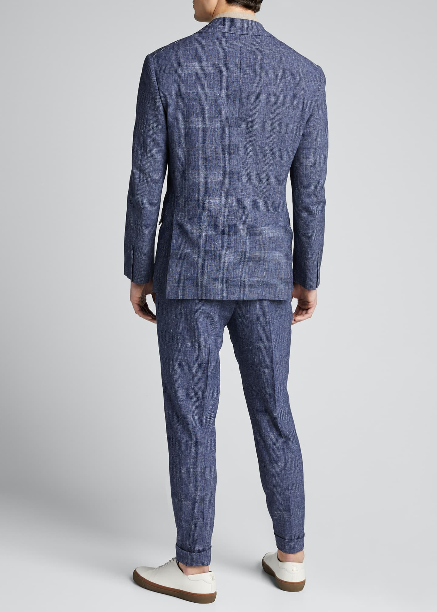 Image 2 of 5: Men's Glen Plaid Peak Lapel Two-Piece Suit