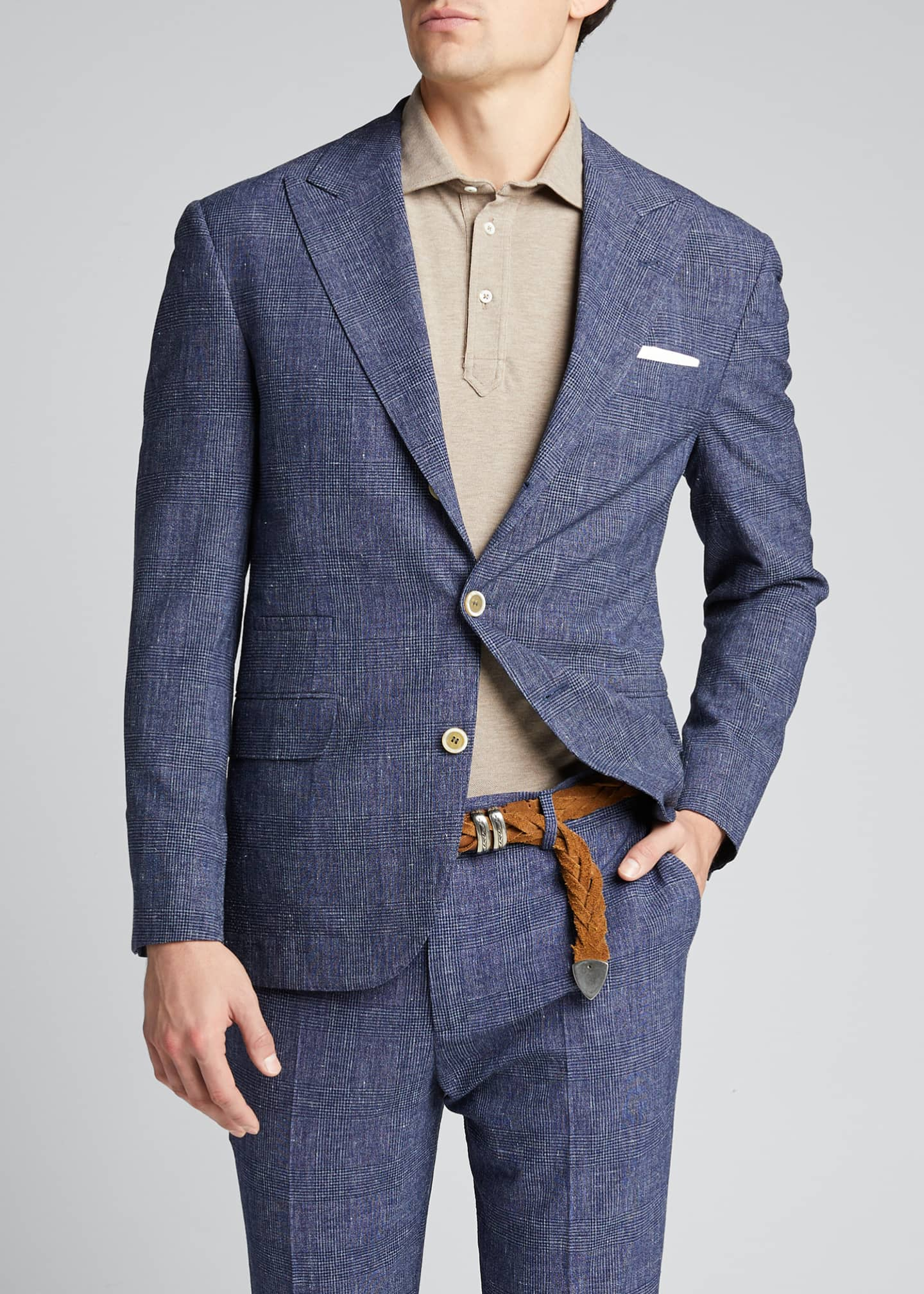 Image 3 of 5: Men's Glen Plaid Peak Lapel Two-Piece Suit