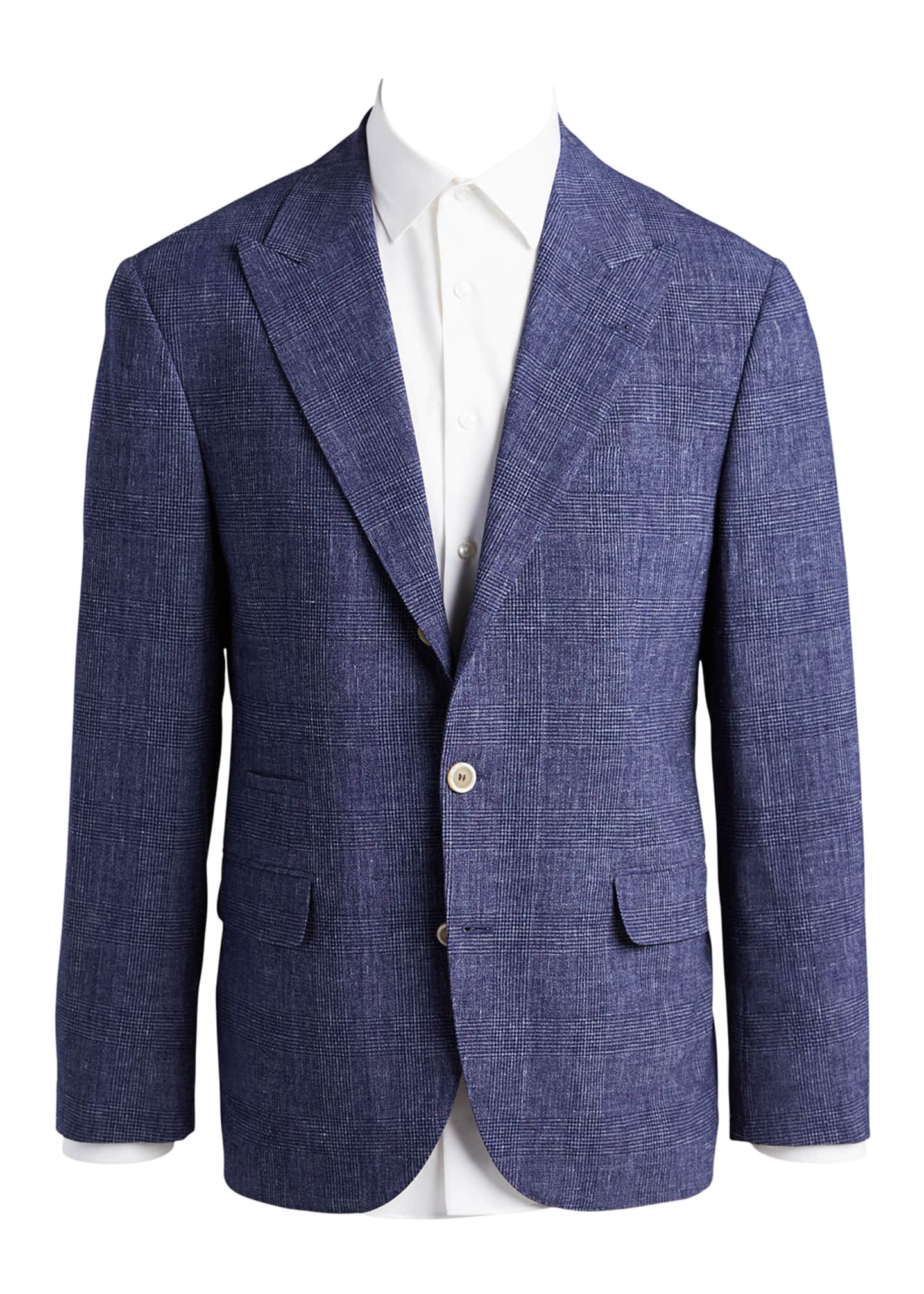 Image 5 of 5: Men's Glen Plaid Peak Lapel Two-Piece Suit