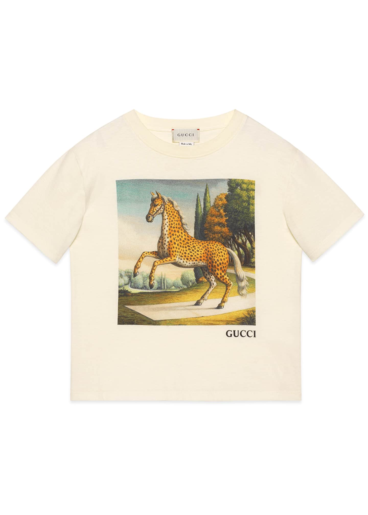 Gucci Kid's Horse Graphic Short-Sleeve T-Shirt, Size 4-12