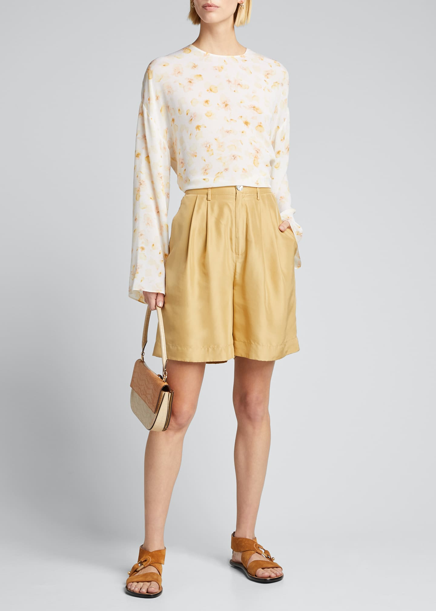 Image 1 of 5: Pressed Petal Long-Sleeve Blouse