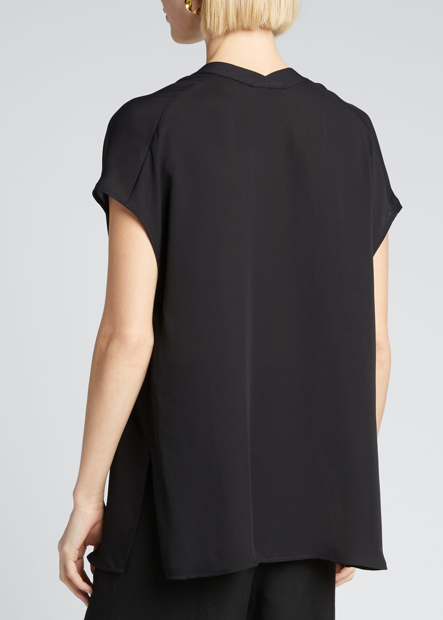 Image 2 of 5: V-Neck Short-Sleeve Rib Trim Silk Blouse