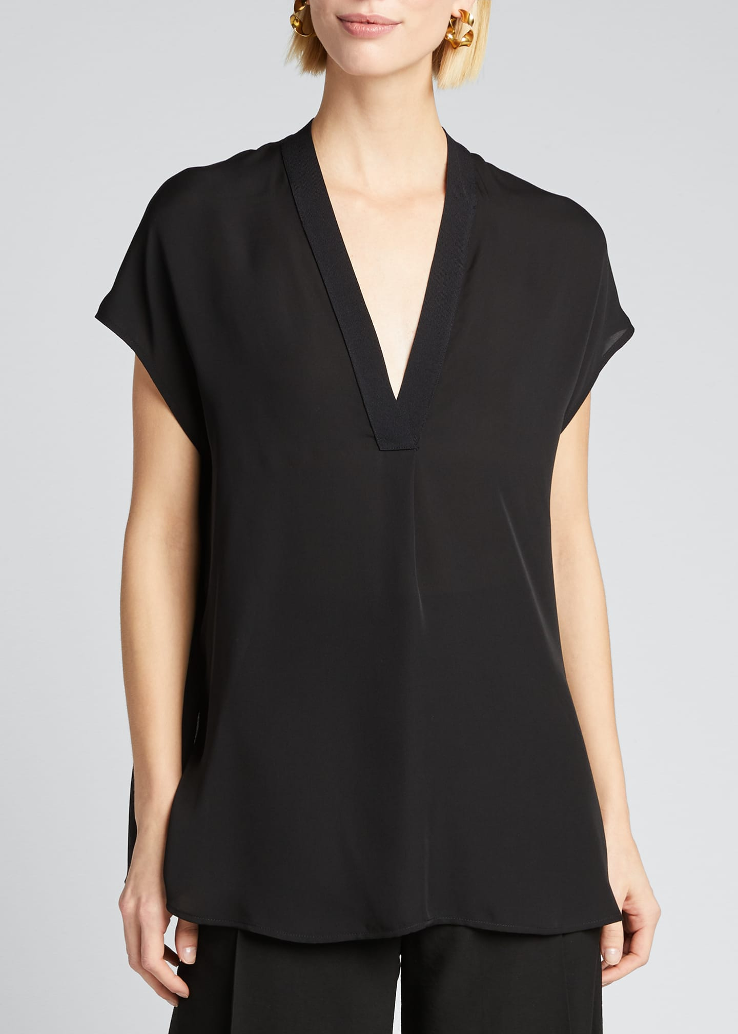 Image 3 of 5: V-Neck Short-Sleeve Rib Trim Silk Blouse