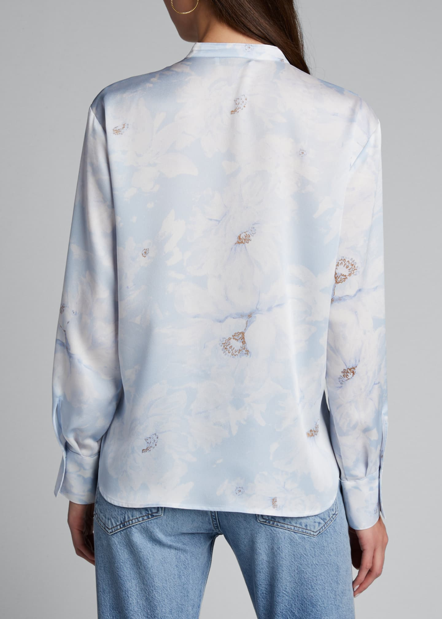 Image 2 of 5: Painted Magnolia Band-Collar Blouse