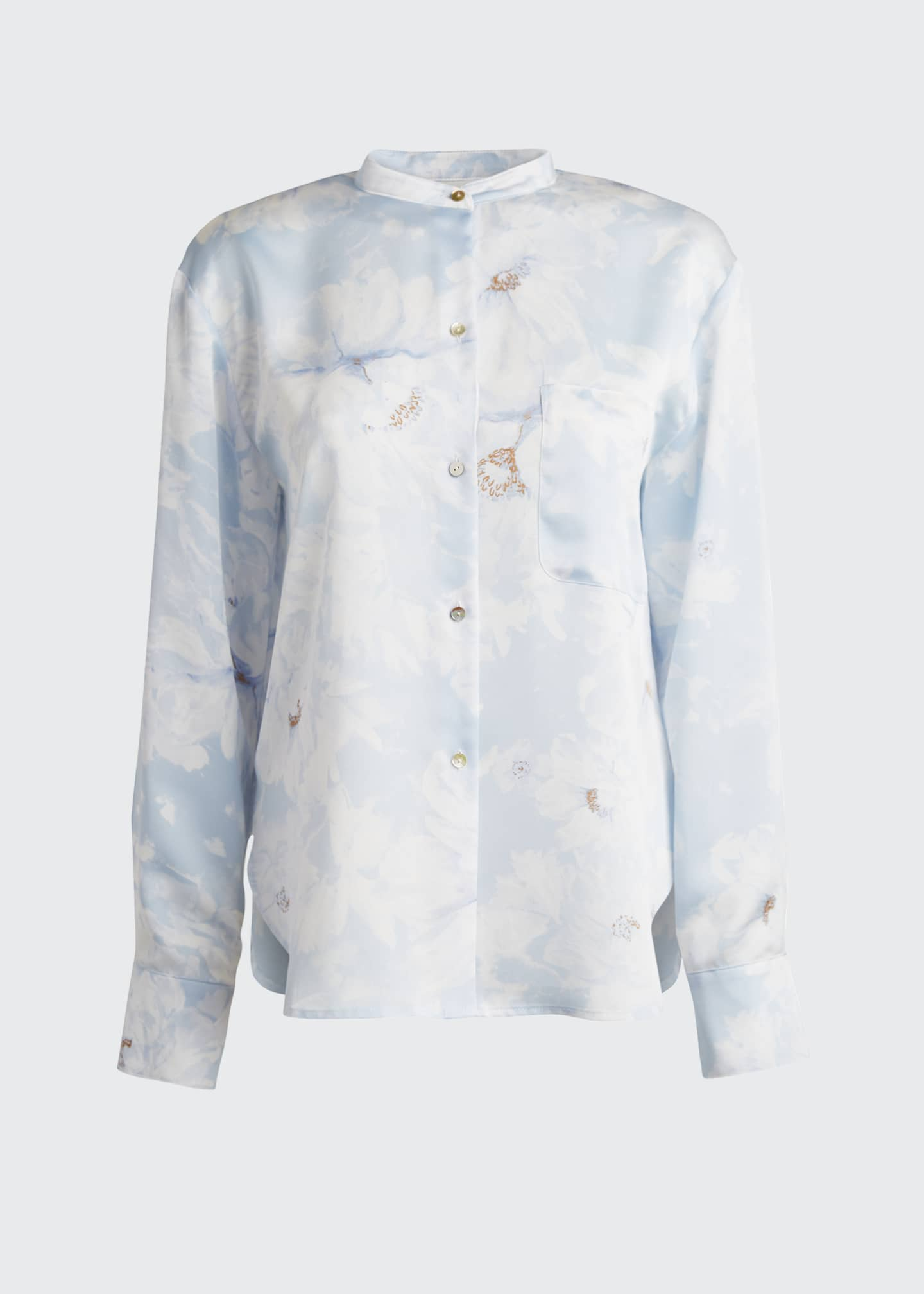Image 5 of 5: Painted Magnolia Band-Collar Blouse