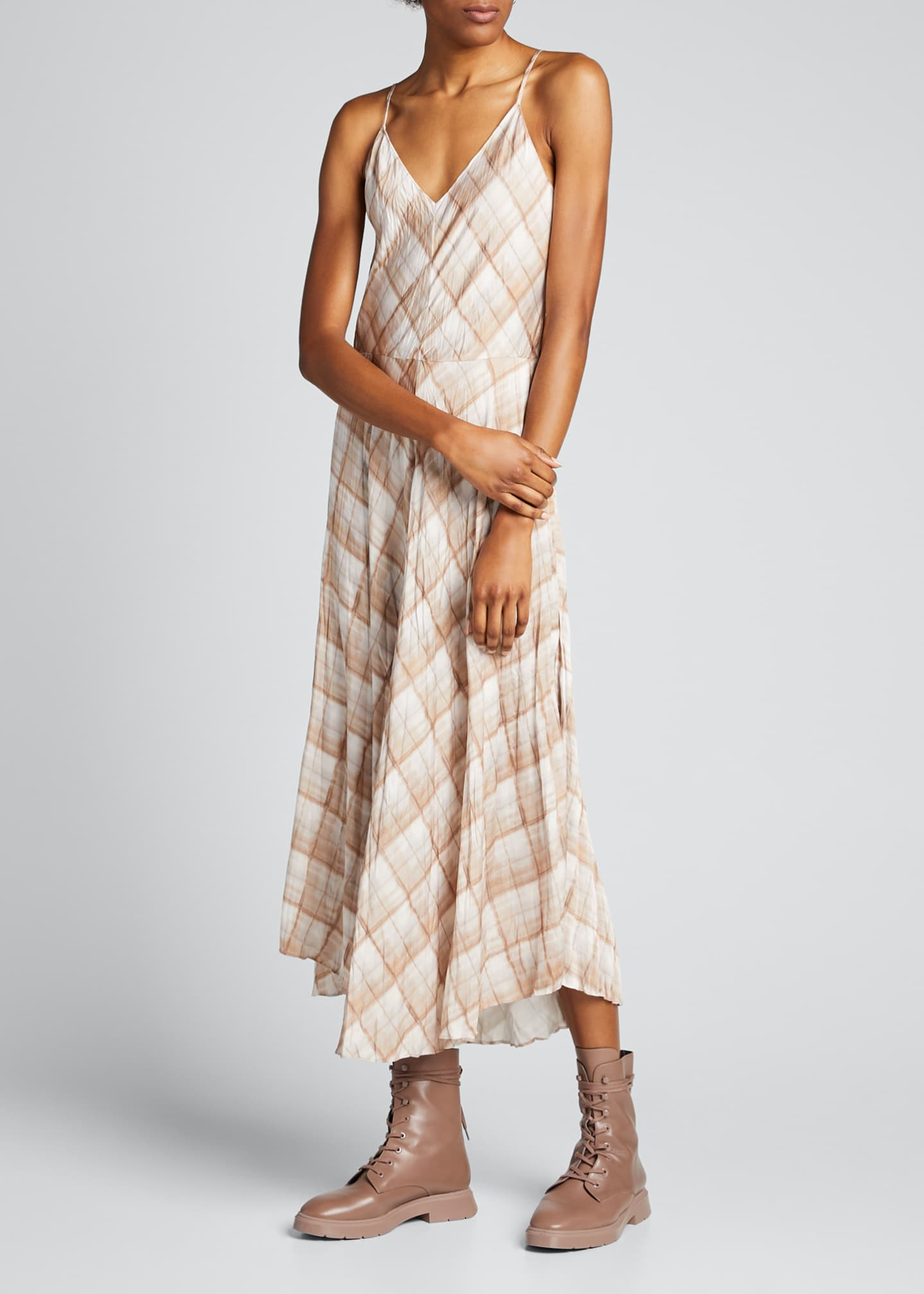 Image 3 of 5: Hazy Plaid Midi Cami Dress