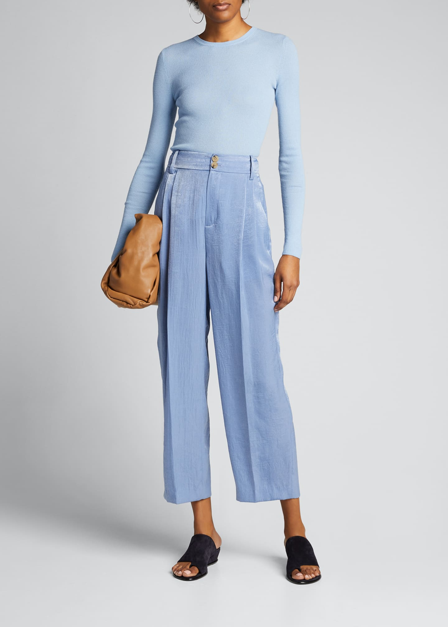 Image 1 of 5: Tapered Hammered Satin Culottes