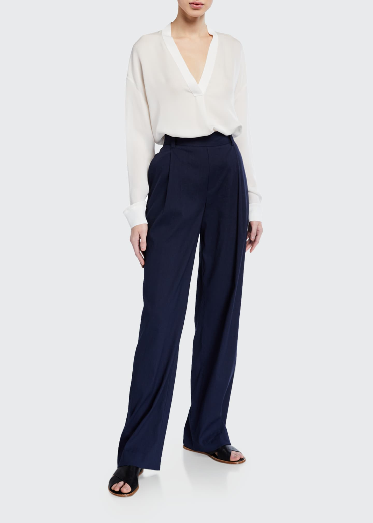 Image 1 of 3: Pleated Front Pull-on Pants