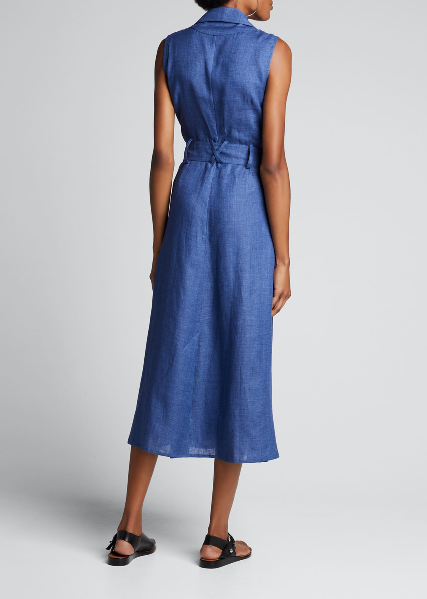Image 2 of 5: Sahara Linen Sleeveless Trench Dress