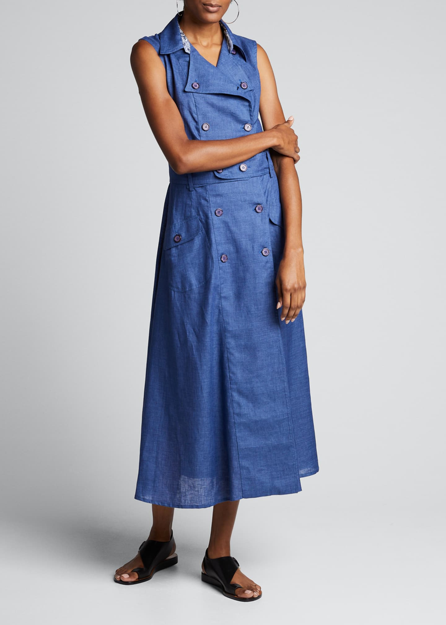 Image 3 of 5: Sahara Linen Sleeveless Trench Dress