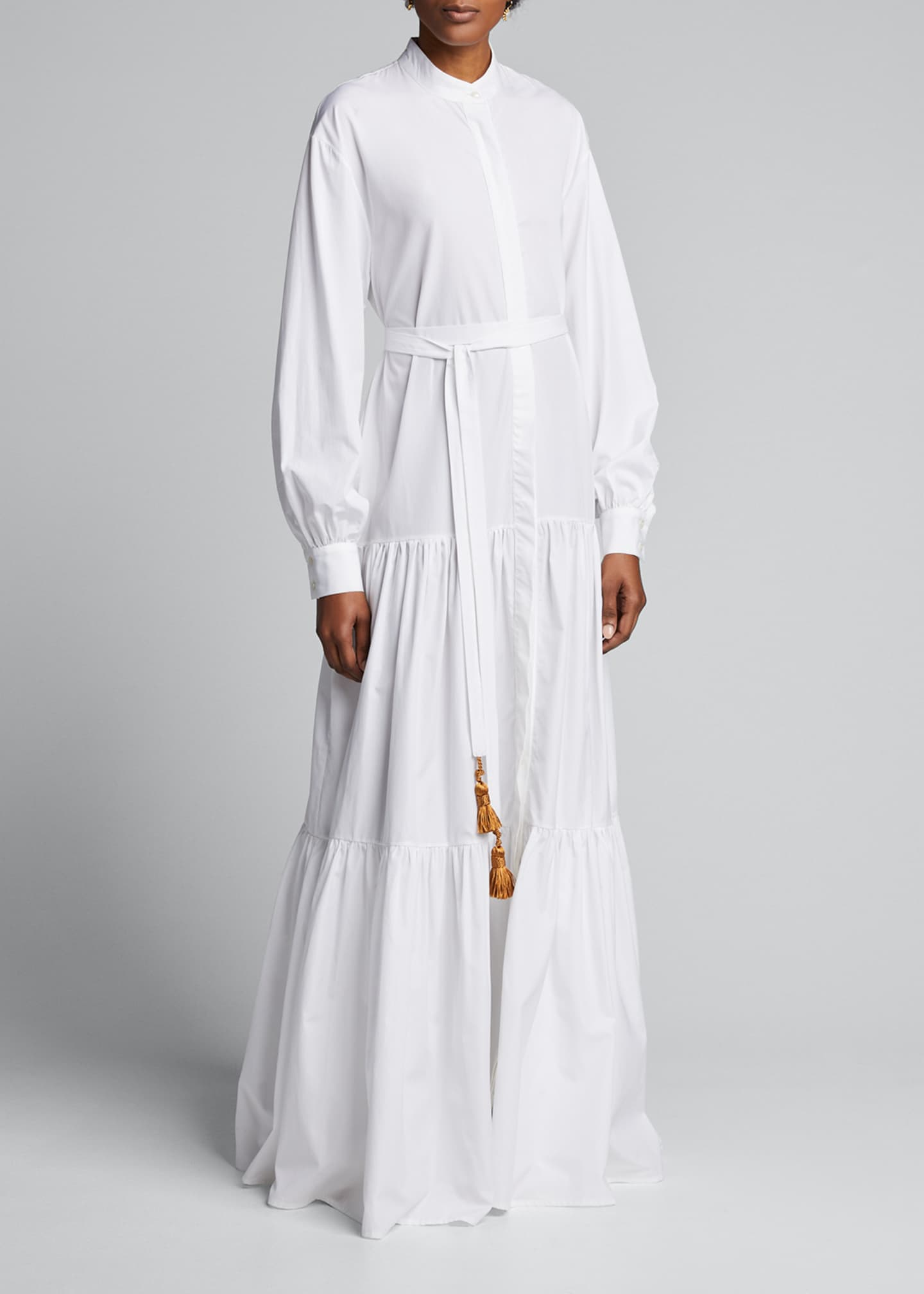Image 3 of 5: Beldi Tassel-Belt Tiered Shirtdress