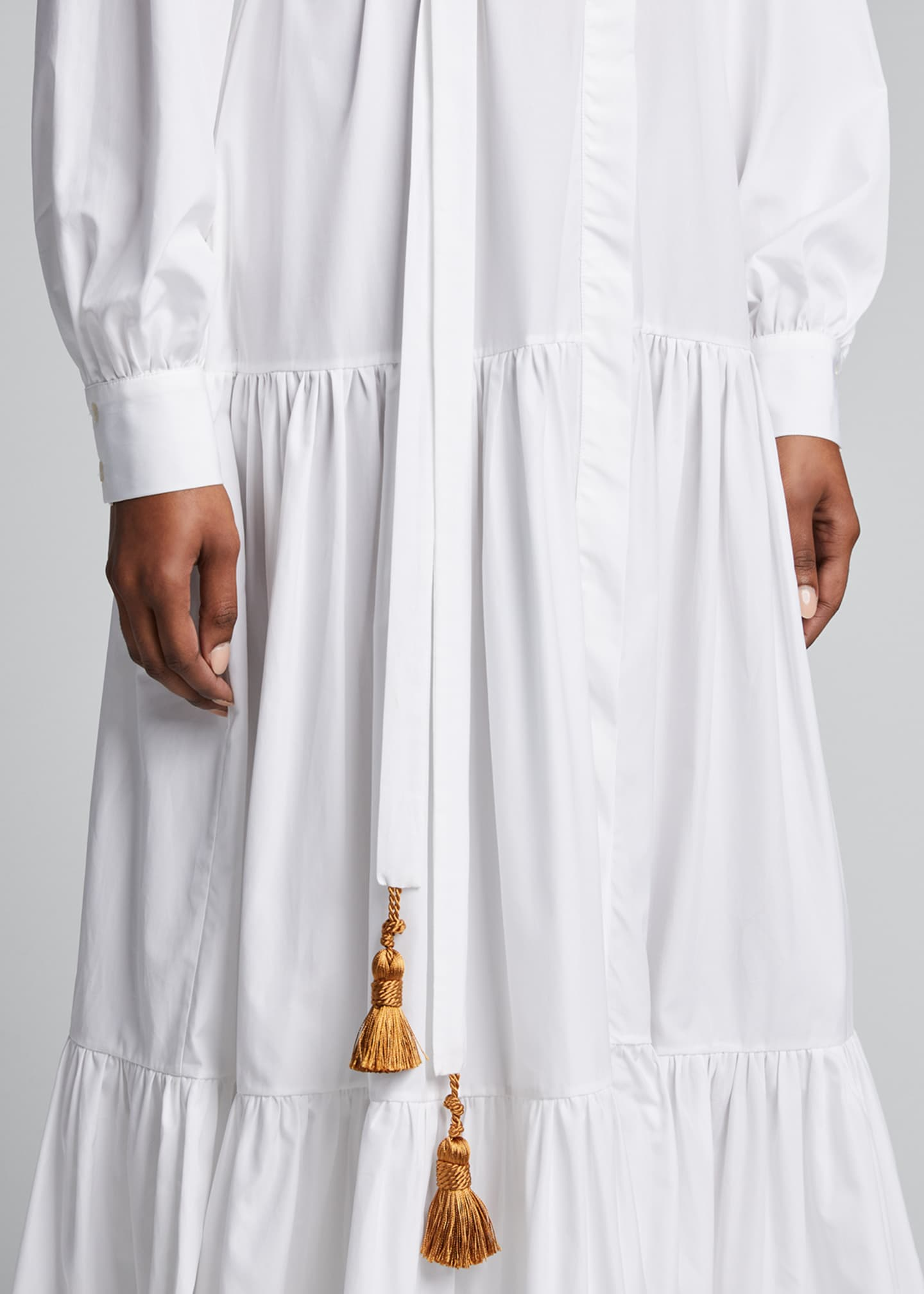 Image 4 of 5: Beldi Tassel-Belt Tiered Shirtdress