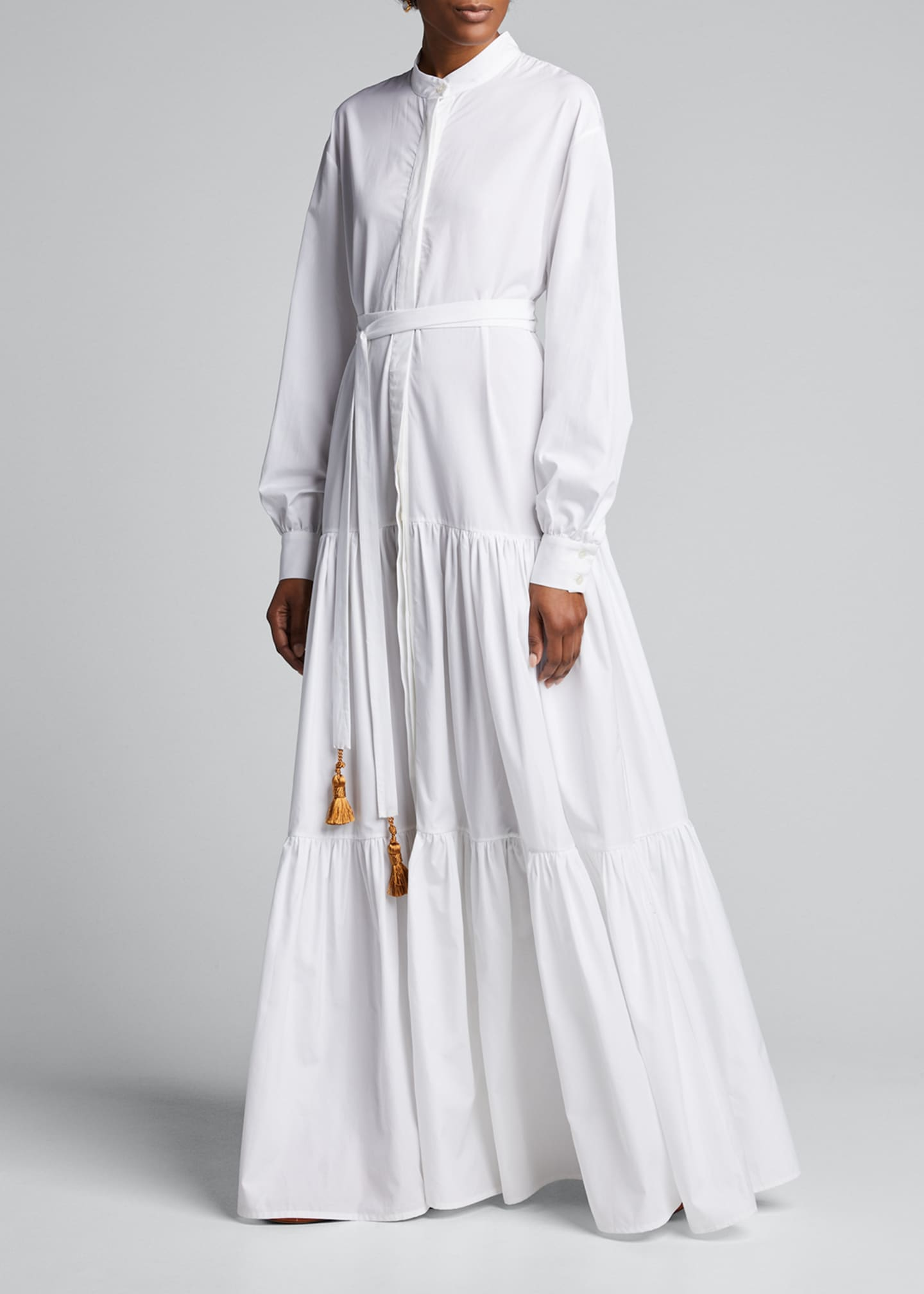 Image 1 of 5: Beldi Tassel-Belt Tiered Shirtdress
