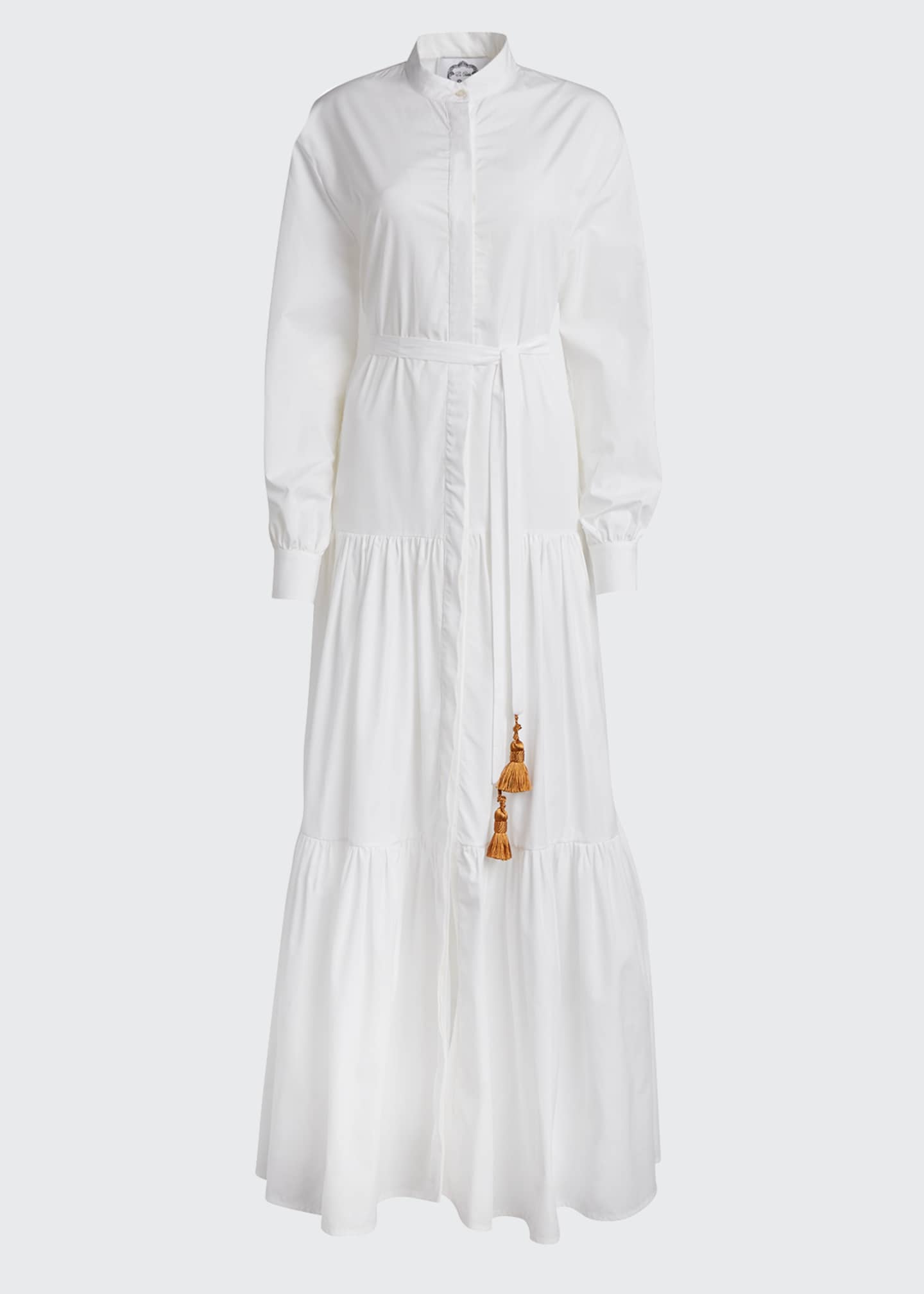 Image 5 of 5: Beldi Tassel-Belt Tiered Shirtdress