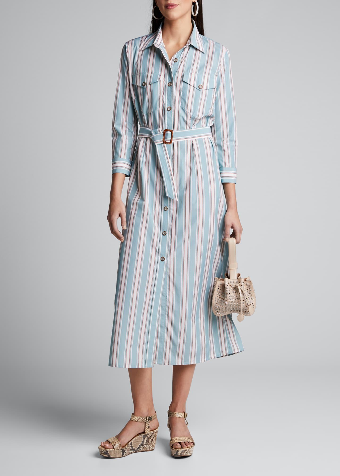 Evi Grintela Laurel Striped Bracelet-Sleeve Shirtdress