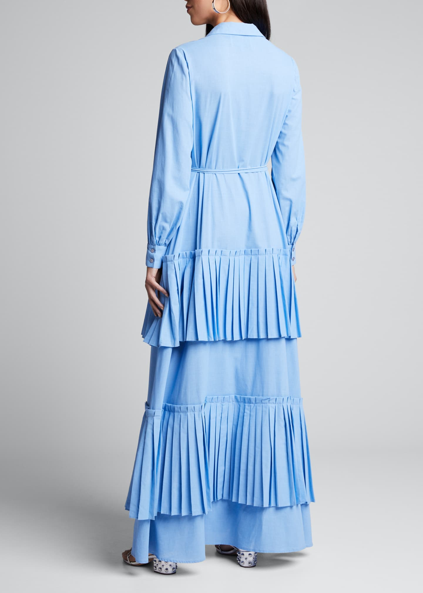 Image 2 of 4: Hydrangea Tiered-Pleated Shirtdress