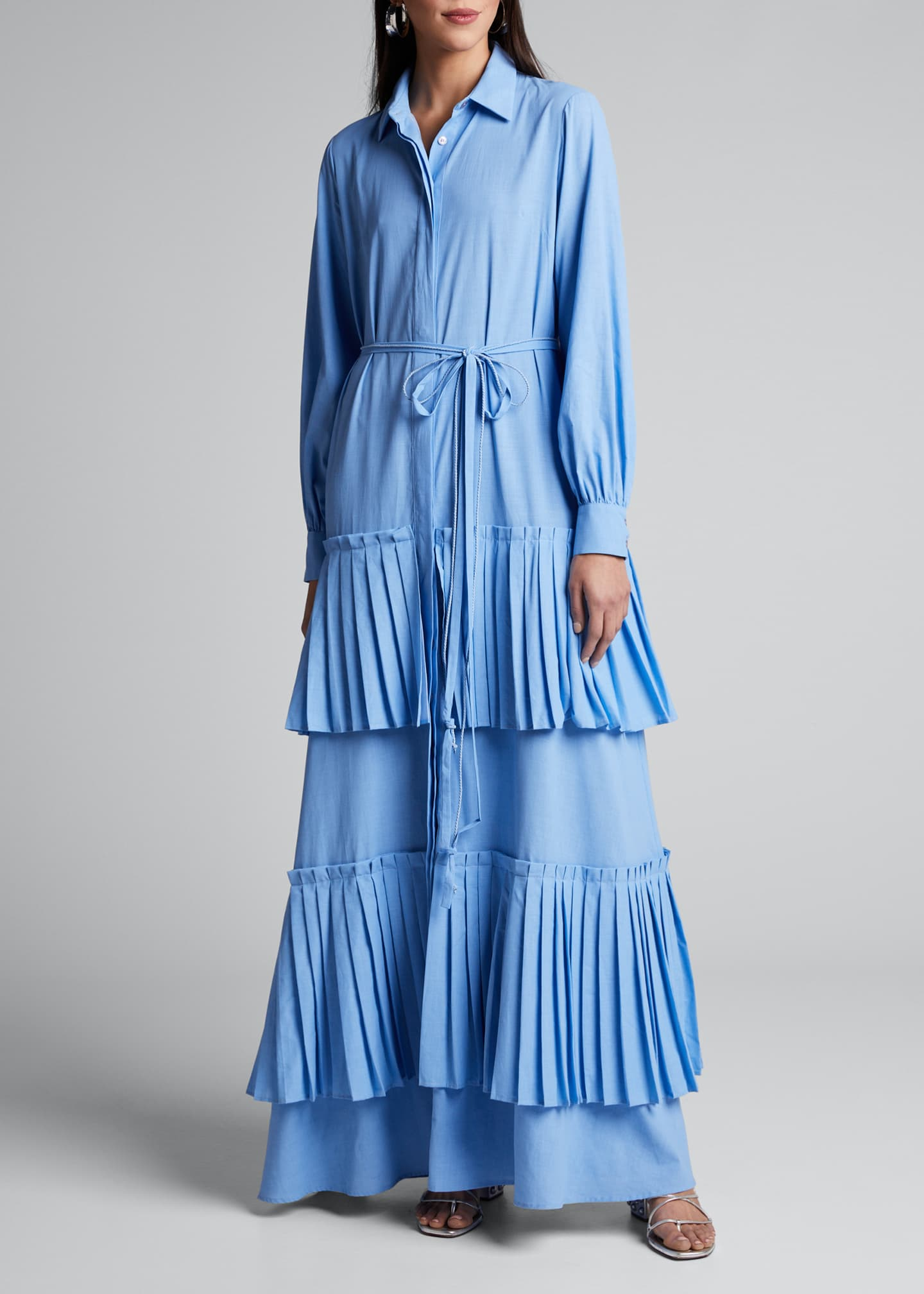 Image 3 of 4: Hydrangea Tiered-Pleated Shirtdress