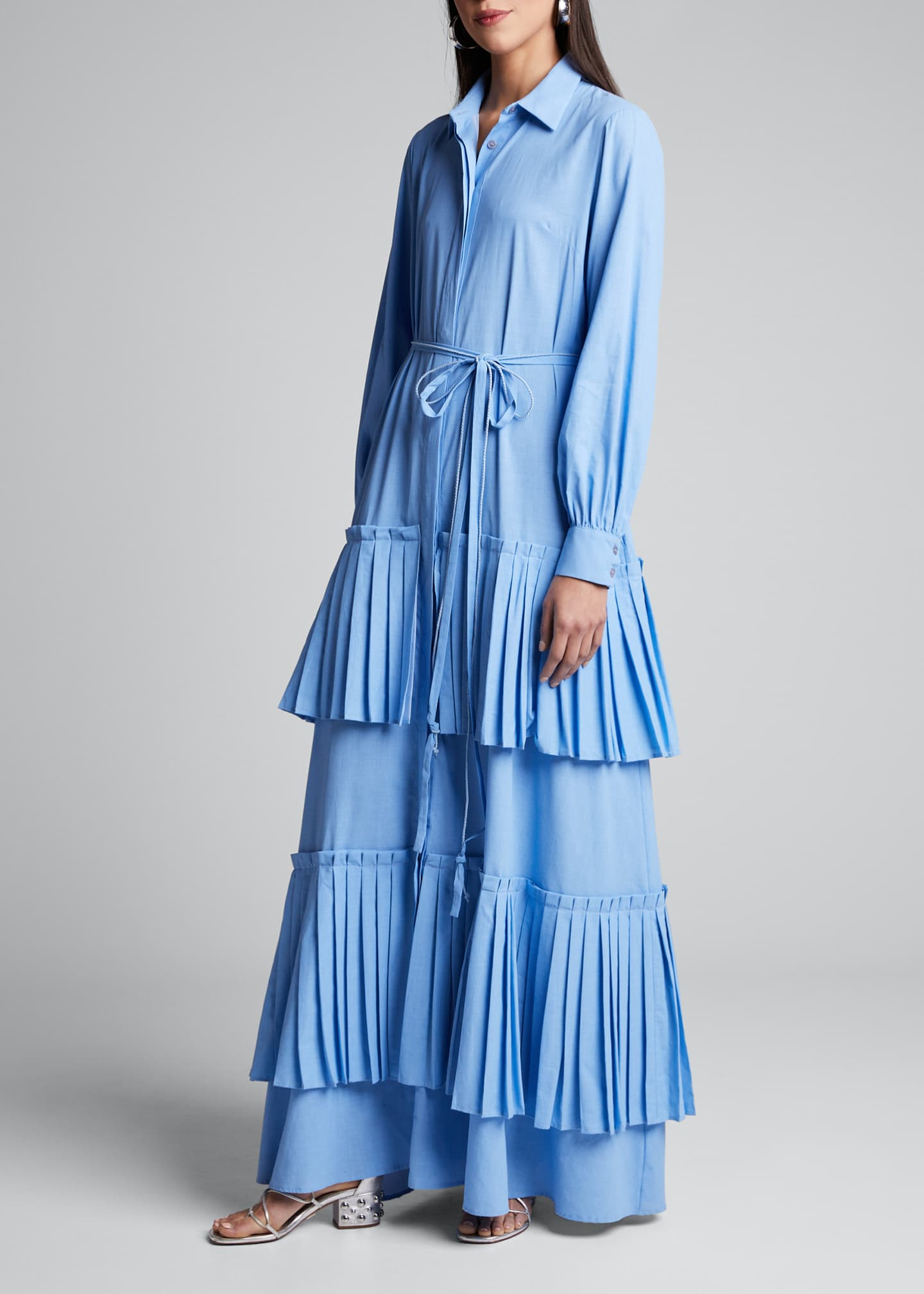 Image 1 of 4: Hydrangea Tiered-Pleated Shirtdress