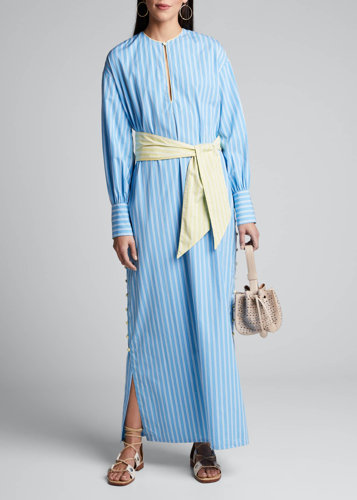 Evi Grintela Heather Striped Tie-Waist Caftan